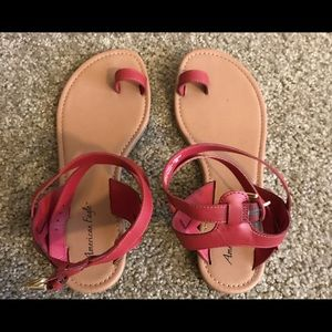 American Eagle, strappy red sandals.